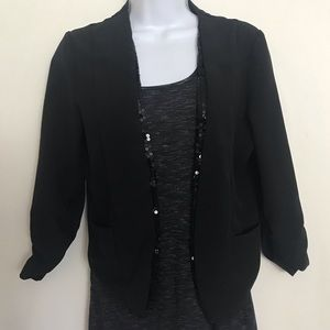 Cropped black and sequin blazer 3/4 sleeve